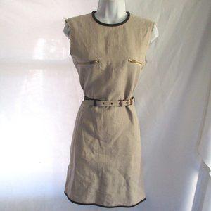 NEW CELINE LINEN Rough Cut Jersey Belted Dress